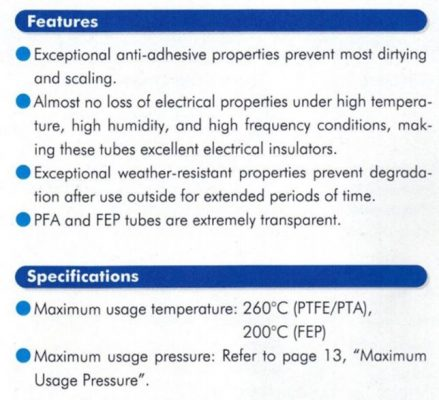 PTFE Tubing features and specs